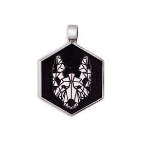 Medaglietta per cani Argento Lupo Doge