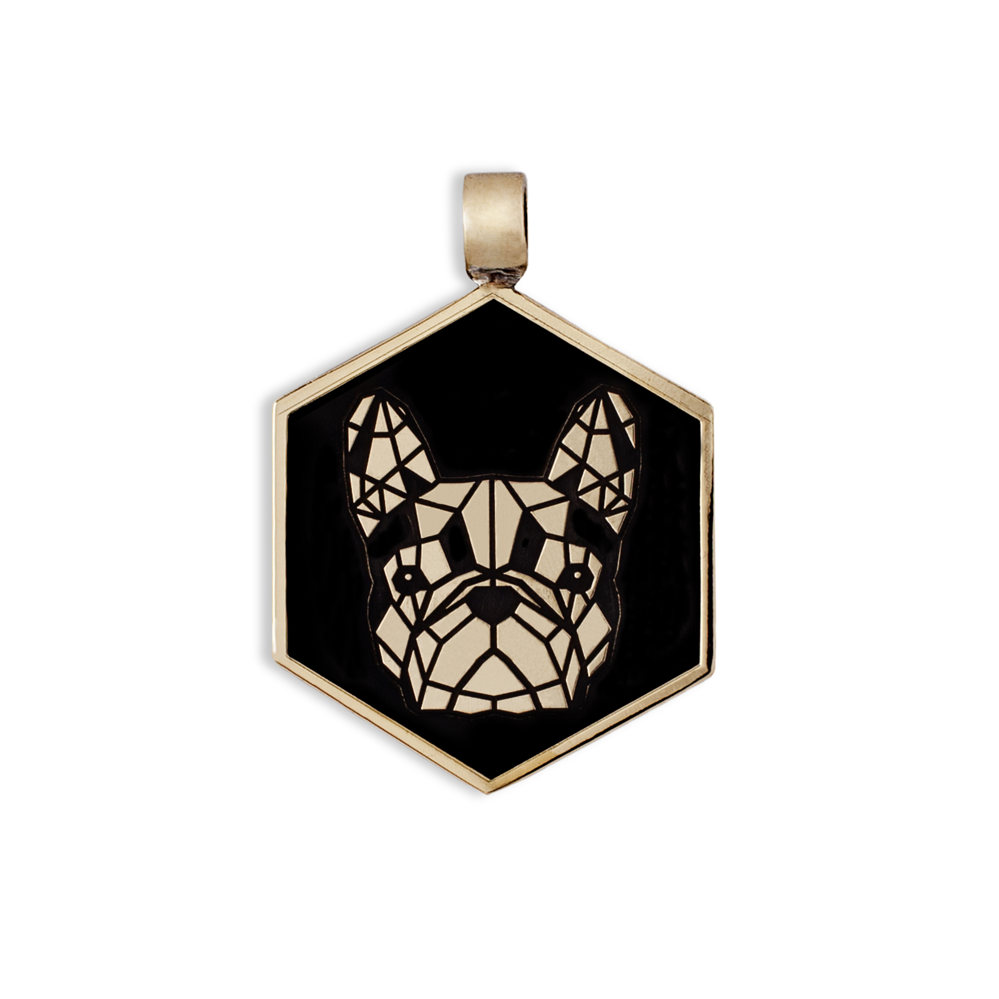 Bronze french bulldog medal/tag