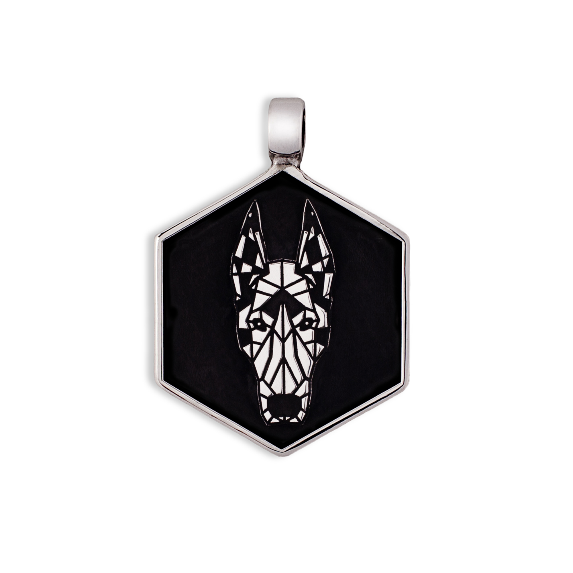 925 Silver Dobermann Medal/tag