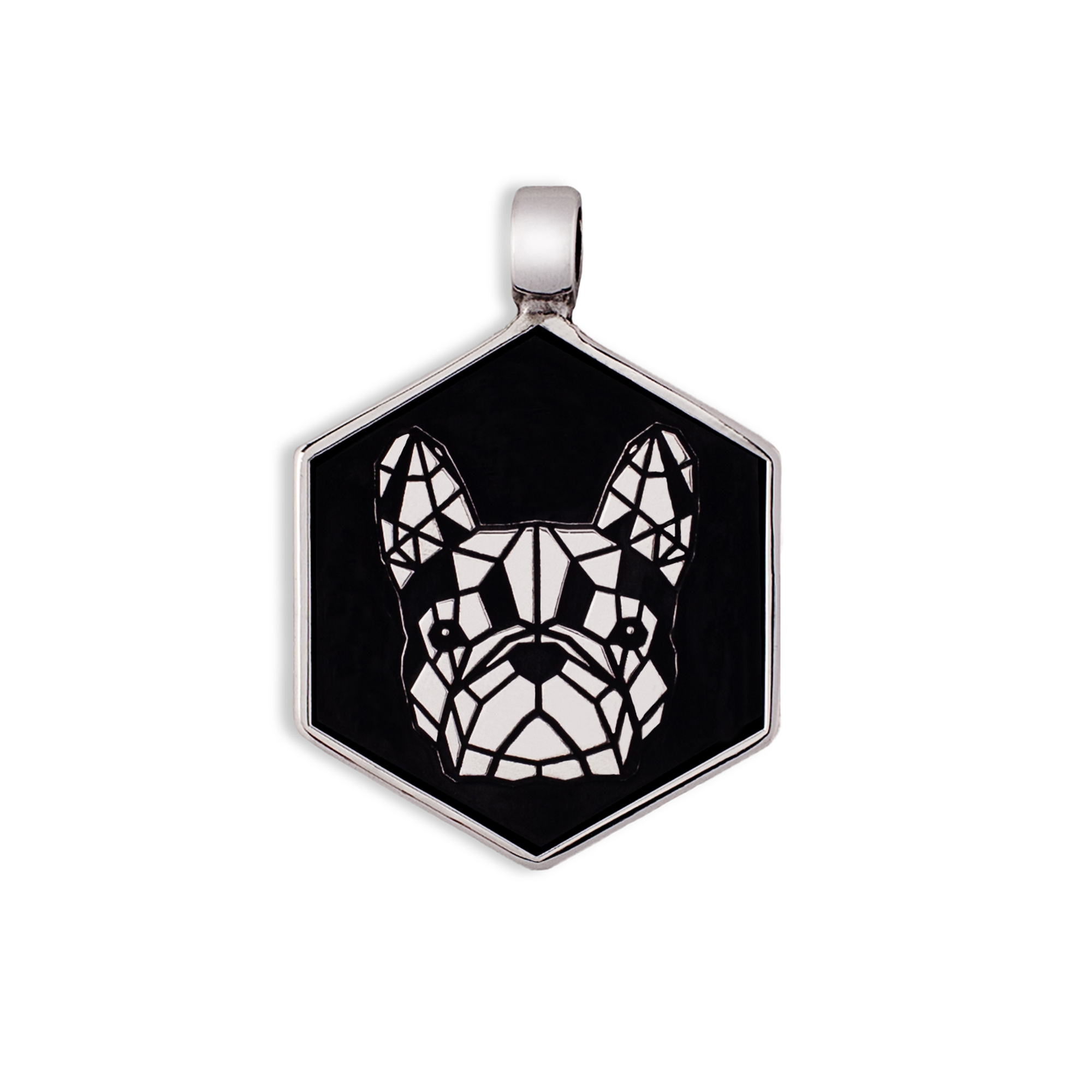 925 Silver French Bulldog medal/tag