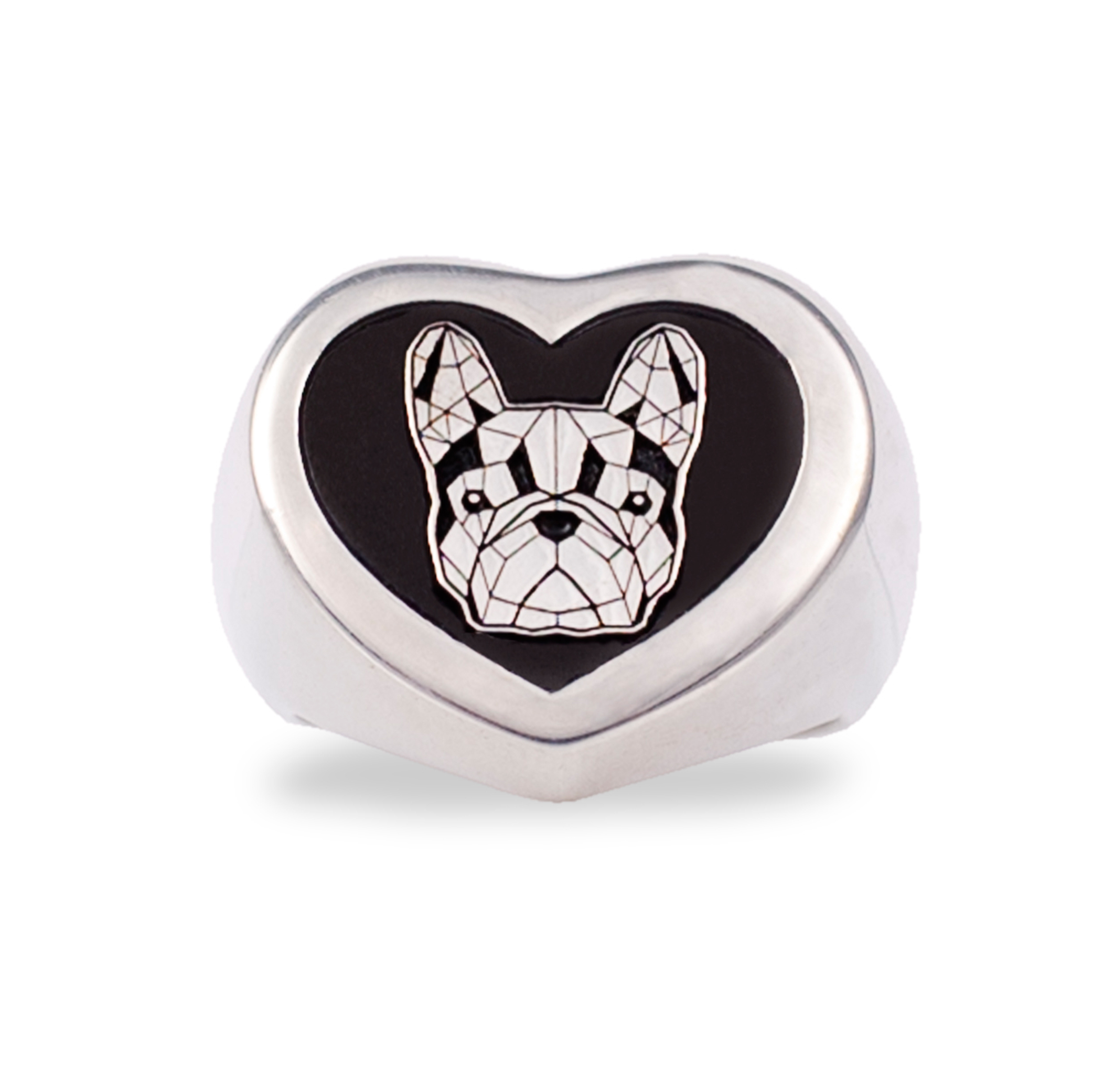Anello cuore in argento con Bulldog Francese