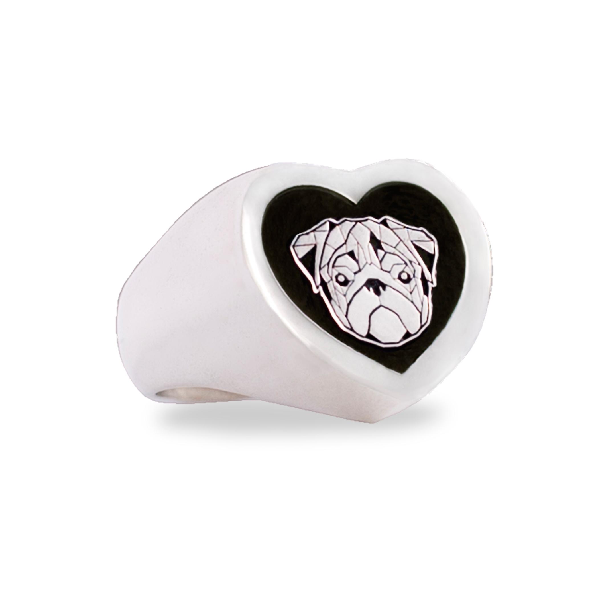 anello argento cuore carlino