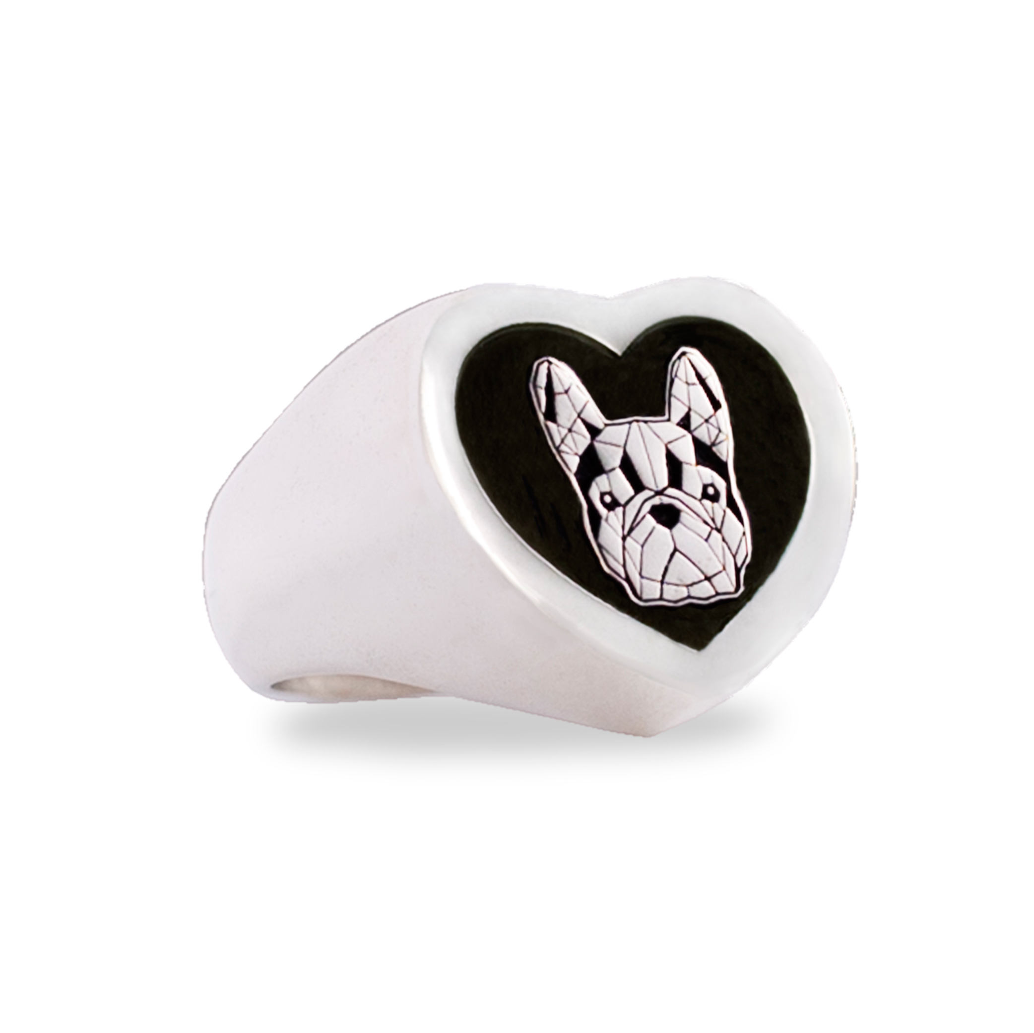 anello_argento cuore bulldog francese