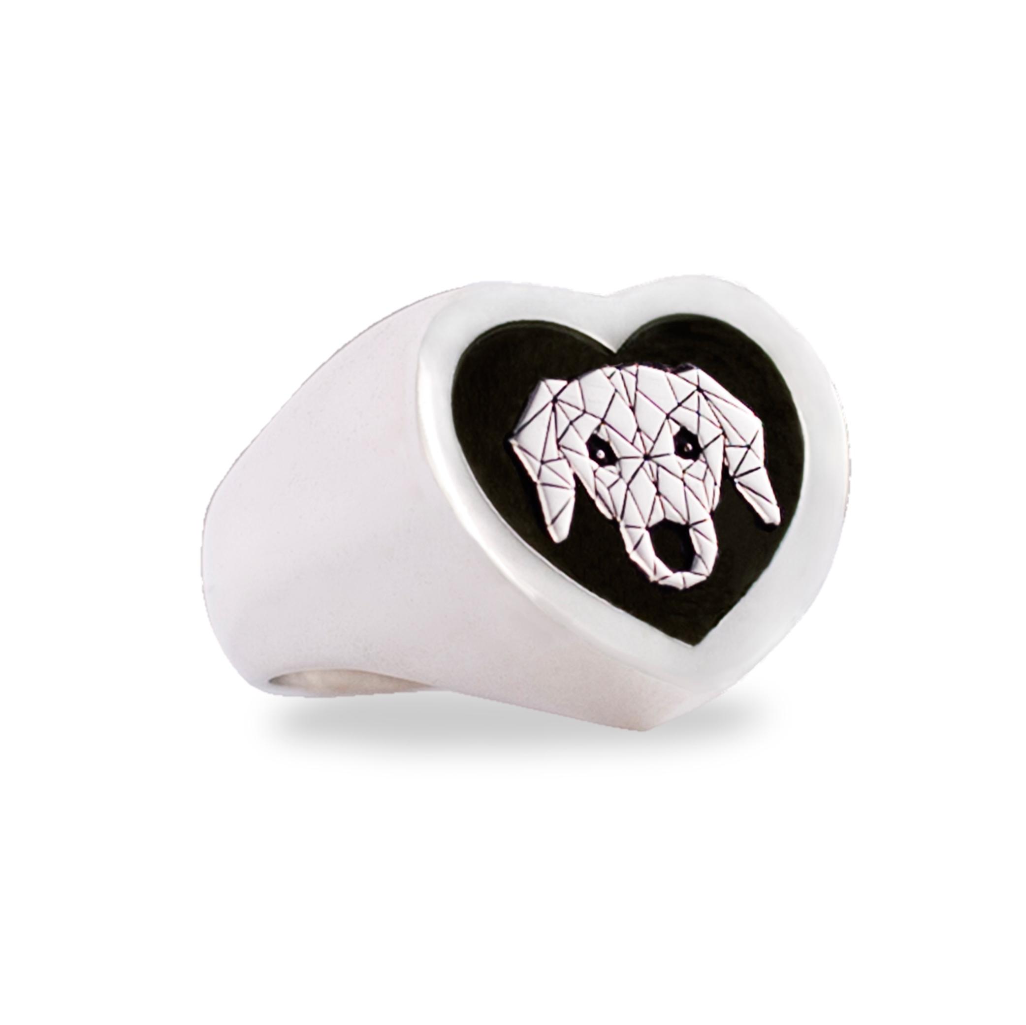 anello argento cuore bassotto