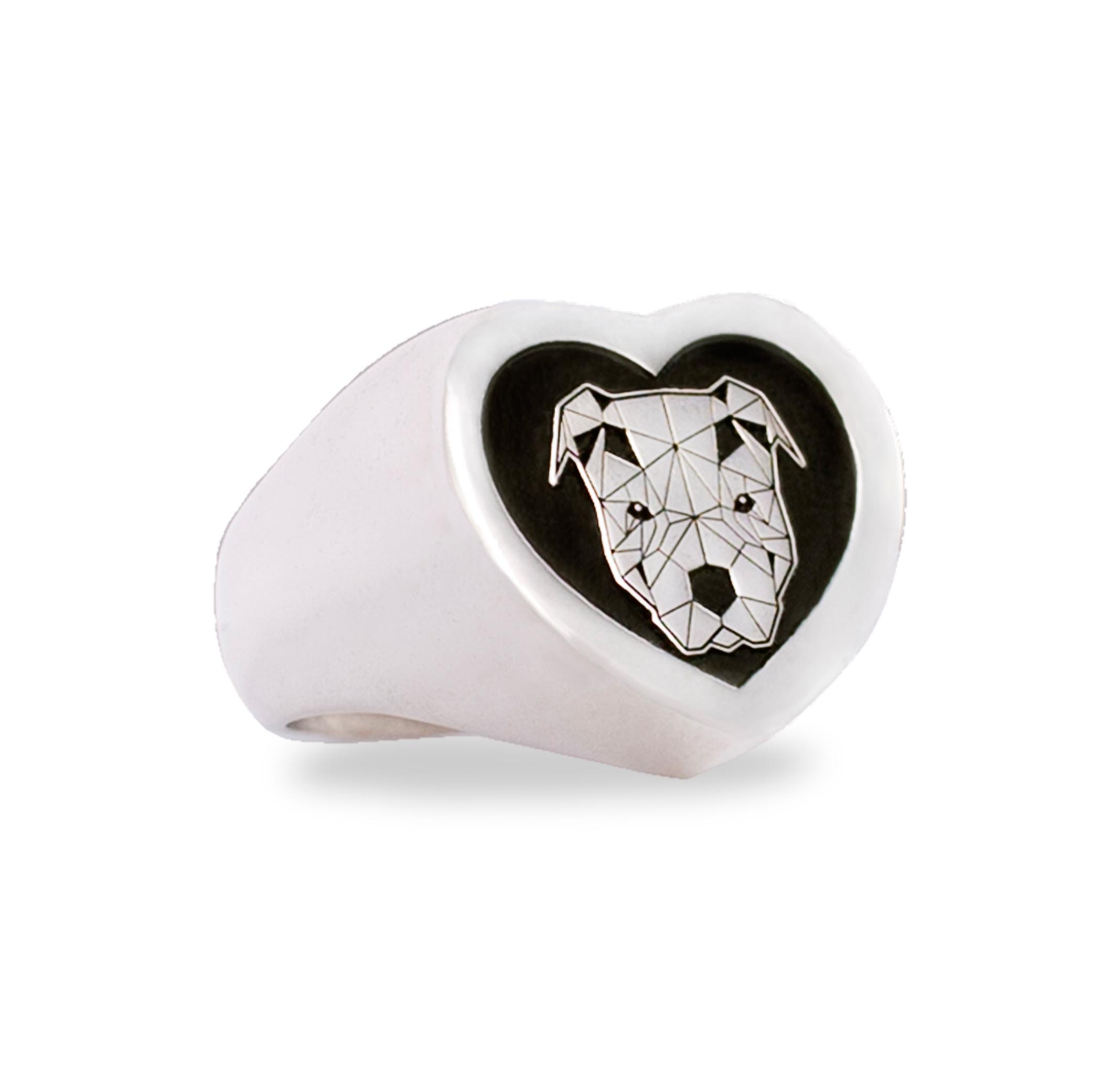 anello argento cuore pittbull