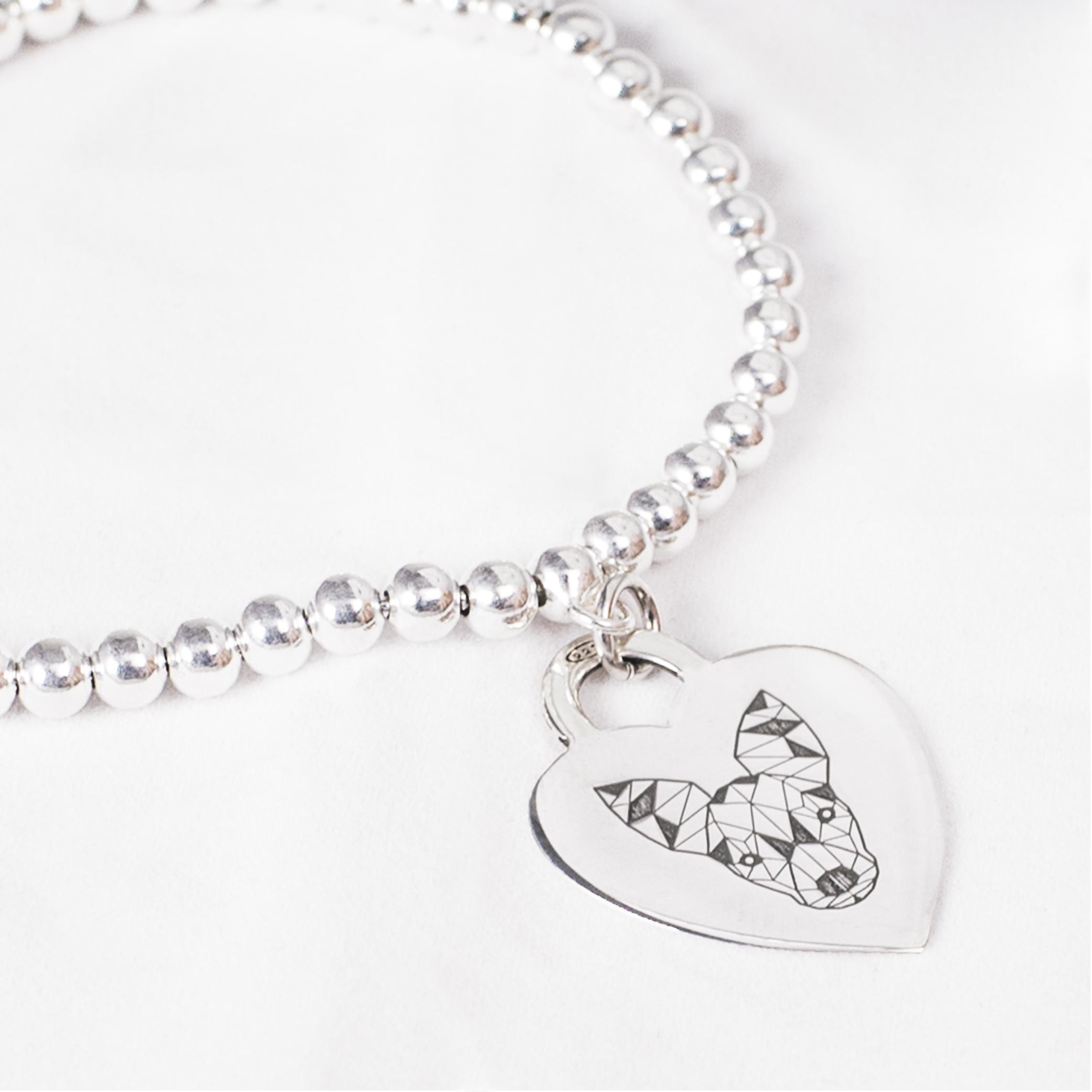 Bracciale_con_medaglietta cuore in argento con Pinscher