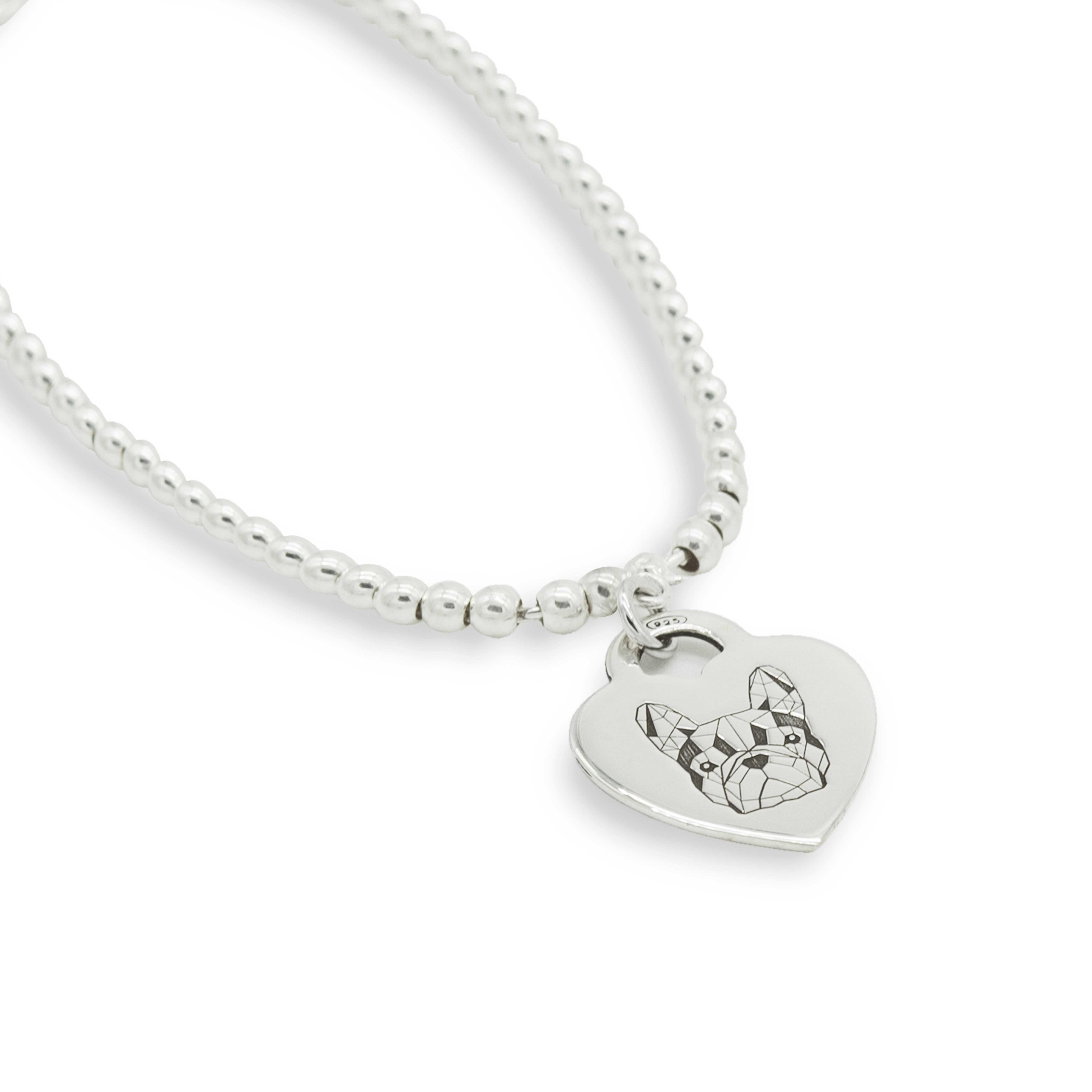Bracciale con medaglietta in argento con Bulldog Francese Small