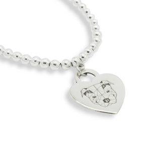 Bracciale con medaglietta cuore in argento con Pitbull