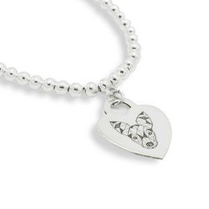 Bracciale con medaglietta cuore in argento con Pinscher Doge
