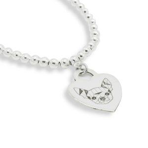 Bracciale con medaglietta cuore in argento con Chihuahua Doge